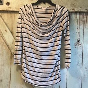 Striped drape neck maternity top